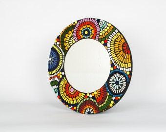 Aztec round mirror