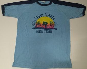 Vintage  Elroy Sparta Bike Trail graphic ringer tshirt size m