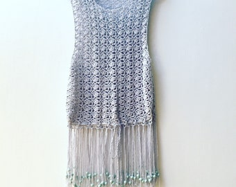 Crochet crop top with drawstring waist and beaded fringe. Festival fashion. Grey crochet tank top. Beach top. Boho clothing. hippie clothing