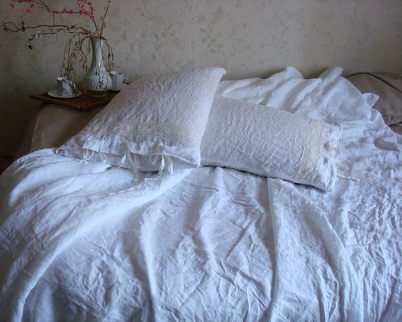 White soft linen bedding stonewashed linen duvet cover by ...