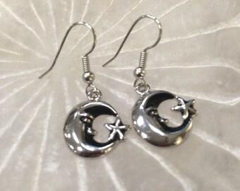 Bohemian moon/star earrings