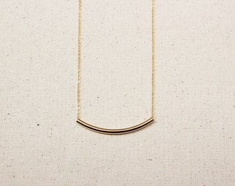 Gold Curved Tube / Dainty Curved Bar / Layering Necklace