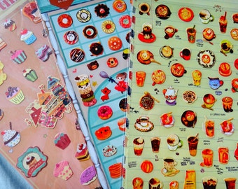 3x sticker sheet set - cute cupcakes snacks sweets pastries - for Penpals Snailmail Planner Girl Daughter Gift Birthday Party