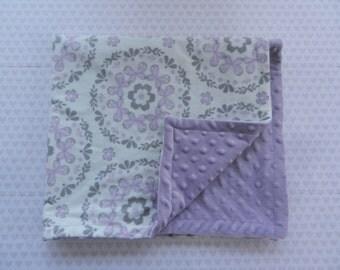Purple and Grey Minky Blanket