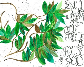 Watercolor Painting - Like a Green Olive Tree