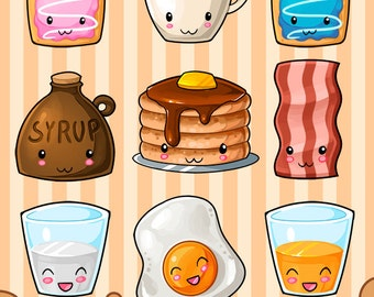 Kawaii Breakfast Clipart - Hearty Breakfast Download - Kawaii Design Download - Eggs, Bacon, Pancakes, Coffee and more!