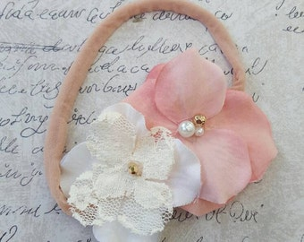 Baby girl ivory headband, girls peach headband, baby girl nylon headband, girls summer headband