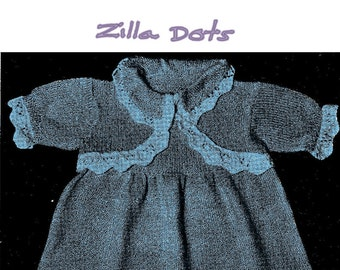 Delightful Vintage knitted baby frock.  Knitted in 2 ply yarn. Size for Toddlers 1-2 years