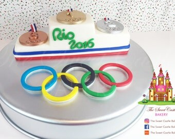 Fondant Olympic Rings and Olympic Podium with Medals Cake Toppers