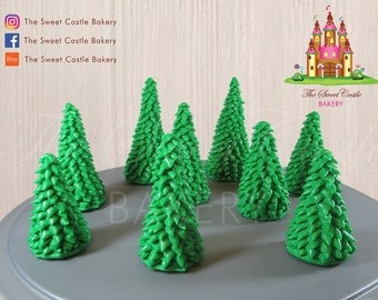 Edible Marshmallow Fondant Evergreen Trees