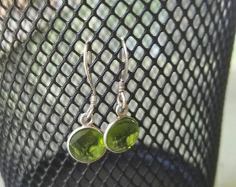 Sterling silver dangle green gemstone earrings