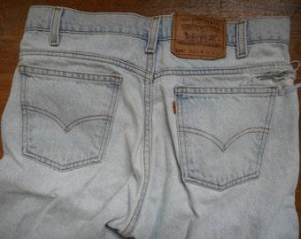 vintage levis 505 orange tab high waisted faded blue jean ripped denim custom W31 L25