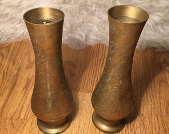 Brass Vase Duo
