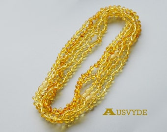 Wholesale Amber necklaces. Lemon Amber. Baroque Beads. For Adults. Baltic amber necklaces. 5 units. 43 cm (~16,9inch). 1859