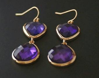 Bridesmaid Gift,Drop Earrings,Dangle Earrings,Wife Gift,Statement Earrings,Purple drop Earrings,Glass Earrings