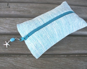 Pencil hand-woven light blue maritime nautical, ooak chenille with starfish pendant White hand-dyed cotton,