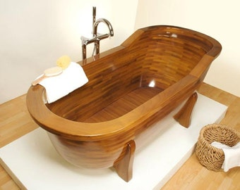 Wooden bathtub made of solid larch.
