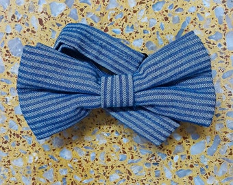 Blue Striped Denim Bowtie