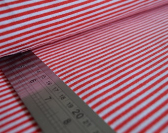 Organic cotton jersey knit ribbed fabric for cuffs. Red & white mini stripes. By Shalmiak, Sari Ahokainen. Per 1/2 metre.
