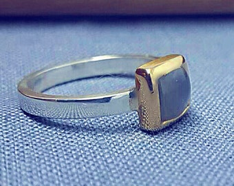 Solid Yellow Gold and Sterling Silver Statment Ring