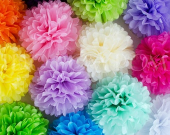 Tissue Paper Pom Poms - Pompoms -  Paper Flower - Flower Balls -Wedding - Party - Baby Shower - Birthday Decorations - Hanging Decorations
