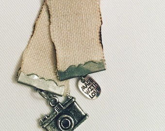 Canvas Ribbon Bookmark with camera charm