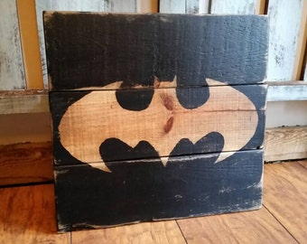 Batman Wood Sign - Hand painted wood sign - vintage superhero sign