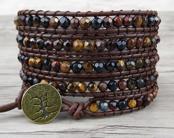 beaded wrap bracelet 5 wraps bracelet Tiger Eye bracelet Boho wrap bracelet gemstone bracelet gypsy beads bracelet leather bracelet SL-0111