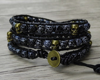 black wrap bracelet agate wrap bracelet men skull bracelet Boho bead bracelet skull wrap bracelet boho Leather bracelet bead jewelry SL-0297