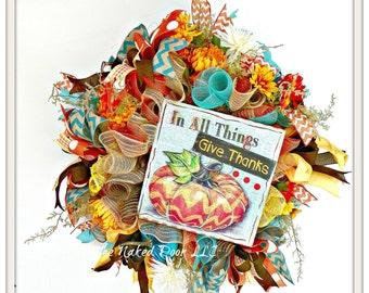 Fall Welcome Wreath - Welcome Wreath - Thanksgiving Decor - Thanksgivng Mesh Wreath - Thanksgiving Wreath - Fall Wreath - Fall Decor