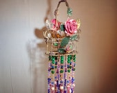 Victorian jeweled hanging boho chic beaded basket decorative hanging, roses fanciful notions home decor room decor, pretty room decor art