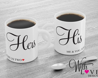 Set Of Two His and Hers Quote Couple Love Mr & Mrs Bride and Groom Husband Wife Coffee Mug Tea Cup Personalised Custom Wedding Present Gift