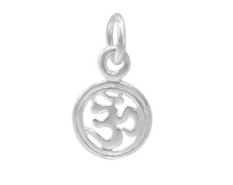 OM Sterling Silver Charms, 8mm Sterling Yoga Charm, Om, Yoga Om, Ohm Charm,Yogi Charm,Zen Charm,DIY,Sterling Silver Supplies,Wholesale,Bulk