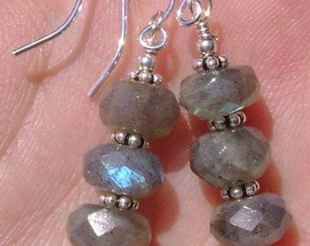 Flashy Labradorite Earrings Faceted Natural Gemstone Rondelle & Sterling Silver