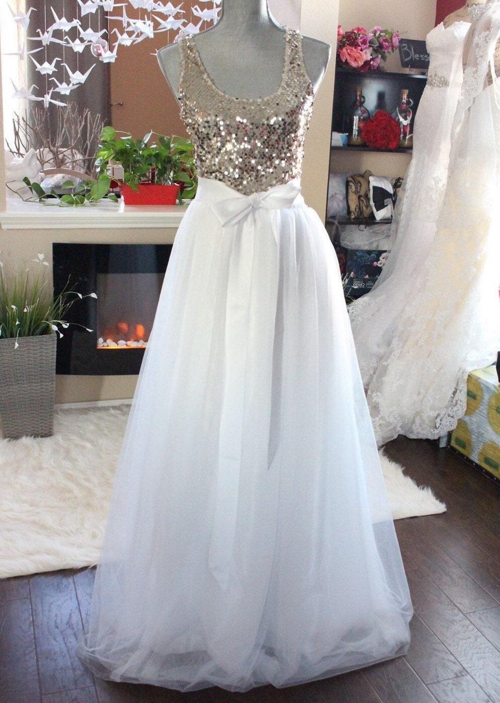 🔎zoom - Tulle Skirt / Elastic Waistband Tulle Maxi Skirt / White Tulle