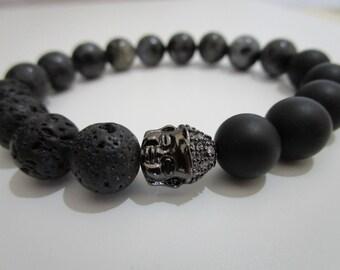 Onyx bracelet, Lava volcanic and Labradorite, bracelet bracelet for women, gift for woman, Buddha, Tibetan bracelet, semi-precious stones