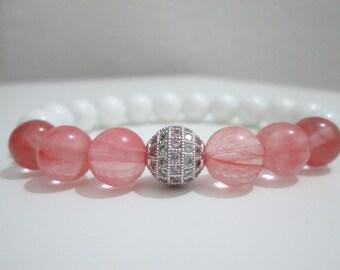 Watermelon tourmaline and white agate, bracelet, semi-precious stones, Micropave cubic zirconium, elastic, watermelon tourmaline