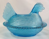 Blue Glass Hen on Nest (HON) by Indiana Glass Company 2016-154