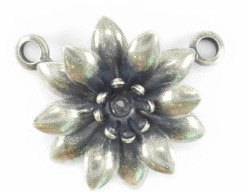 5 Piece 24ss Flower Pendant base with Two side loops for jewelry making