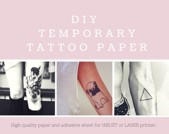 DIY Temporary Tattoo Paper. Inkjet or Laser printer. Print your own tattoos at home!