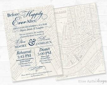 new orleans wedding invitation, Vintage New Orleans Map Wedding Rehearsal Invitation, rehearsal invitation, vintage, map