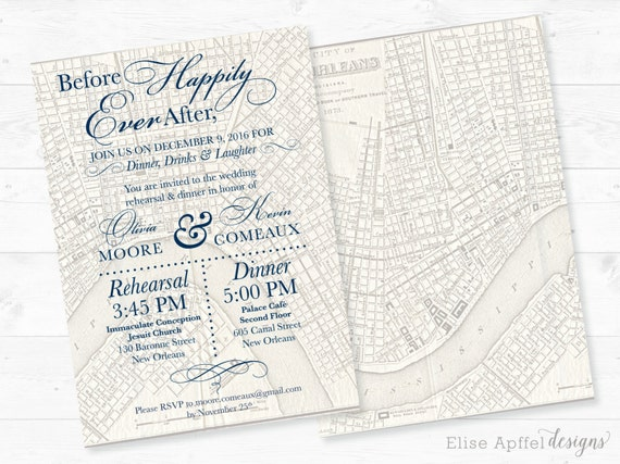 Wedding Invitations New Orleans: New Orleans Wedding Invitation Vintage New Orleans Map