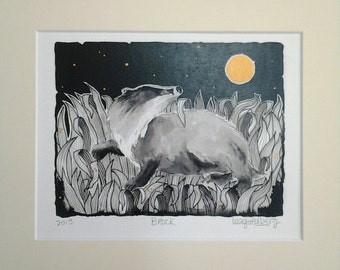 Brock, badger print, pen and ink print, uk artist, badger gift, art