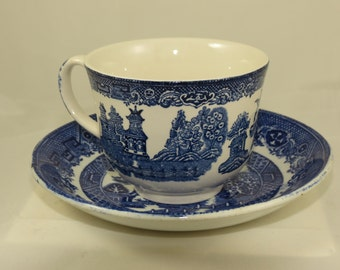 Two (2) Blue Willow China Teacups and Saucers