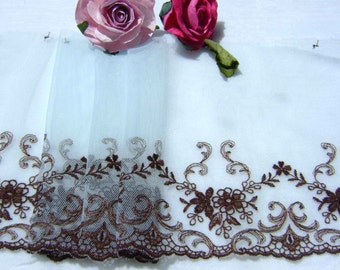 2.25 metres Sky Blue & Brown Embroidered Tulle Lace