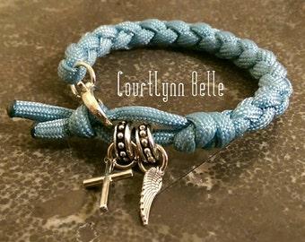 Women's Bracelet, Women's Bangle, Feather Cross Bracelet, Women's Paracord Bracelet, Cool and Simple Bracelet (Men's Bracelet)