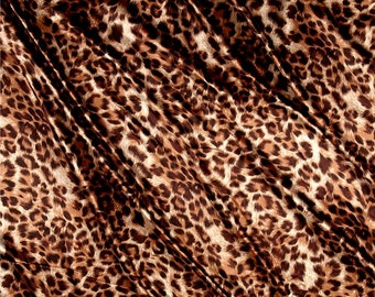 Apparel Fabric, Clothing Fabric, Leopard Print Satin, Scarves Fabric, Dress Fabric, Blouse/Belt/Sash Fabric, Home Decor, Fabric By The Yard
