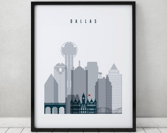 Dallas print, Poster, Wall art, Texas cityscape, Dallas skyline, City poster, Typography art, Home Decor, Gift, Wall art, ArtPrintsVicky