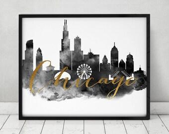 Chicago poster, black and white print, Chicago skyline, travel, faux gold text, Wall art, Illinois, city prints, Home decor, ArtPrintsVicky