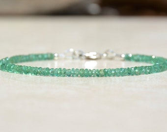 Zambian Emerald Gemstone Bracelet, May Birthstone Bracelet, Natural Emeralds, Gemstone Bracelet, Beaded Bracelet, Birthday Gift for Her